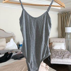 Missguided // gray tank bodysuit